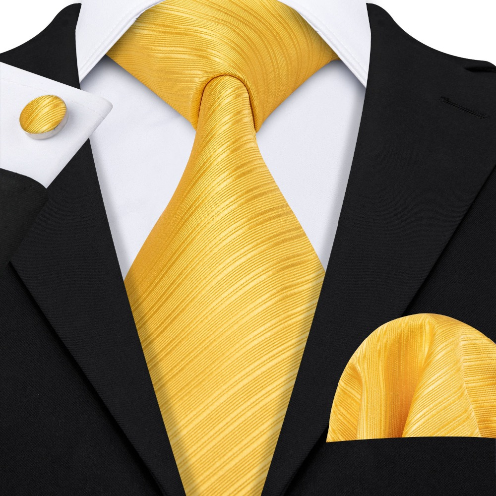 LS-5091 Mens Ties 100% Silk Jacquard Woven Yellow Silk Ties For Men Wedding Business Party Barry.Wang Handkerchief Neck Tie Set