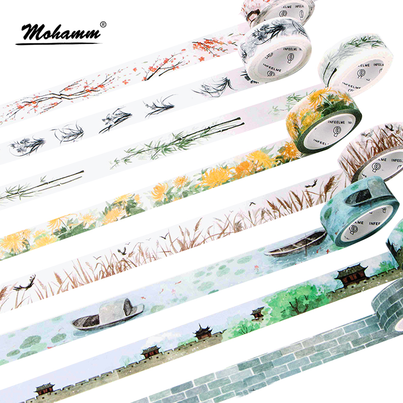 24 Style Creative Classical Poetry Life Peopel Decorative Washi Tape Diy Scrapbooking Masking Tape School Office Supply 0 8cm 8m the seventh season slim decorative washi tape scotch diy scrapbooking masking craft tape school office supply