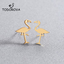 Todorova Lovely Flamingo Earrings for Women Accessories Jewelry Tropical Bird Red-crowned Crane Stud Earrings Animal Earrings(China)
