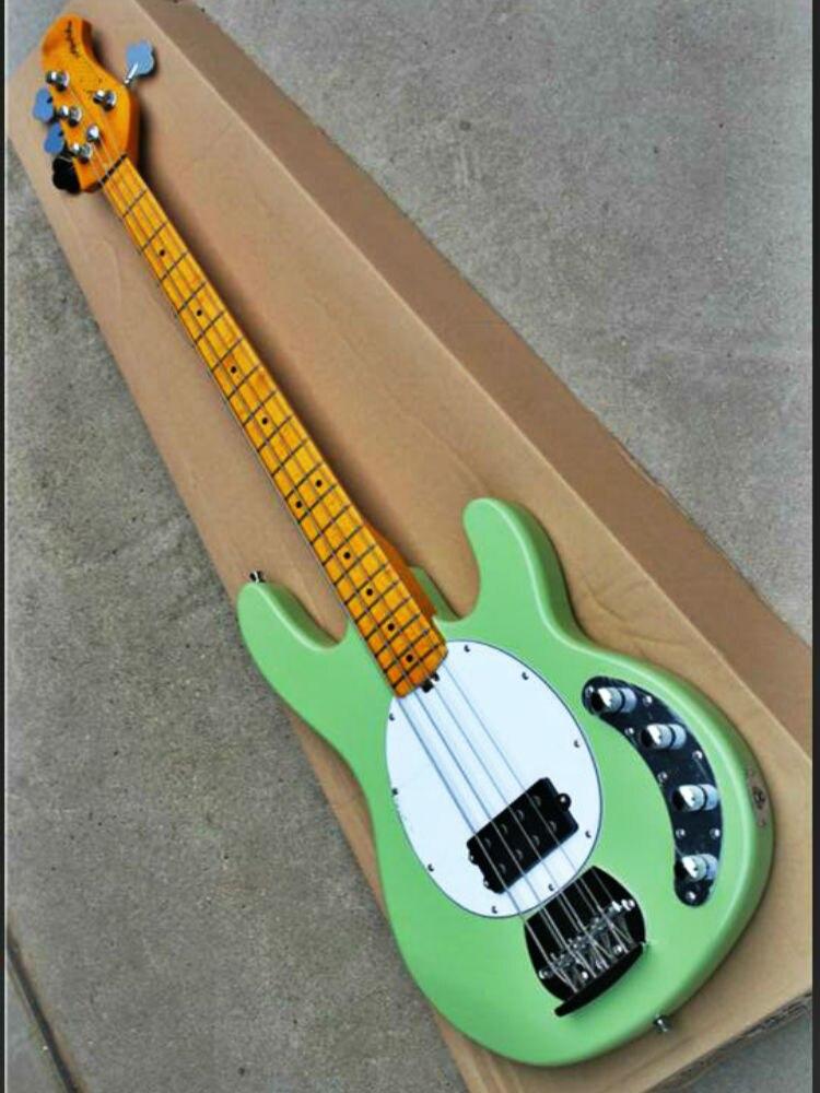 Top qualità FDMB 7011 verde chiaro di colore solido di colore del corpo bianco piastra di acero tastiera in 4 corde attivo Musicman Basso, Trasporto libero - 3