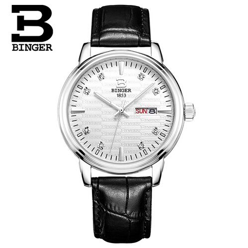 Switzerland Binger Hot Sale Men fashion Leather Quartz Crystal watch Wrist watches Man hour clock relojes relogio feminino hot unique women watches crystal leather bracelet quartz wrist watch mujer relojes horloge femmes relogio drop shipping f25
