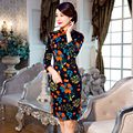 Free Shipping New Sale Qipao Chinese Women's Clothing Cheong-sam Dress 3/4 Sleeve Velvet Qipao For Woman 3 Style