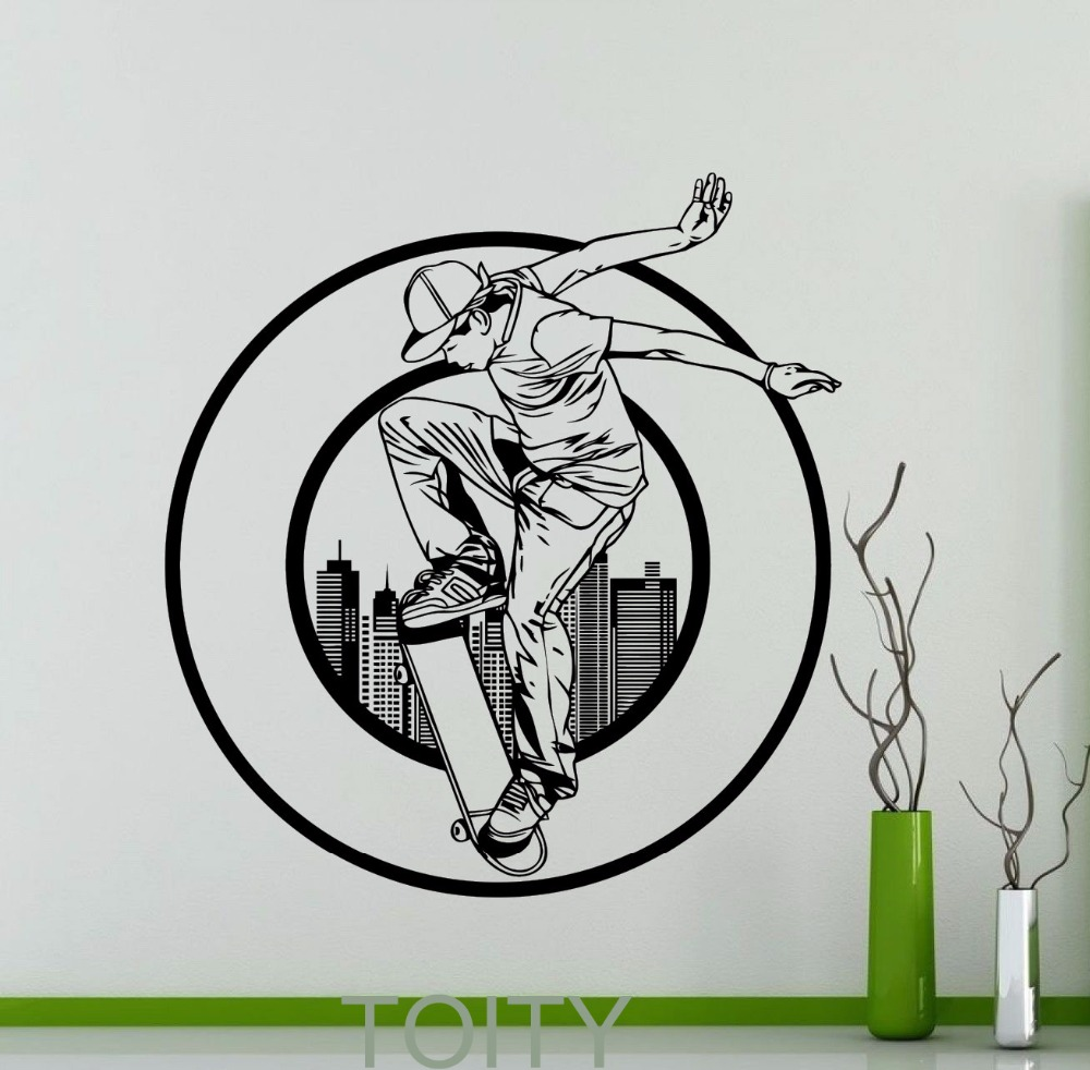 Grosir wall sticker skater gallery buy low price wall sticker skater lots on aliexpress com
