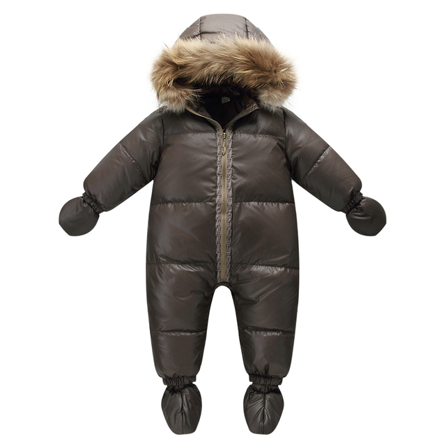 Высокое качество зима марка куртка мода коричневый 9 М-36 М детские пальто 90% утка вниз снег износ мальчик snowsuit с природа меха капот