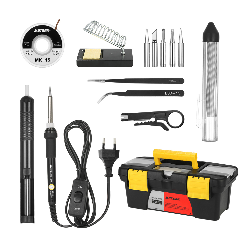 Meterk 60W 14 in 1 electric Soldering Iron Kit Adjustable Temperature Welding Soldering Iron + soldering iron tip & Accessories meterk измерять вольтажэлектрический ток