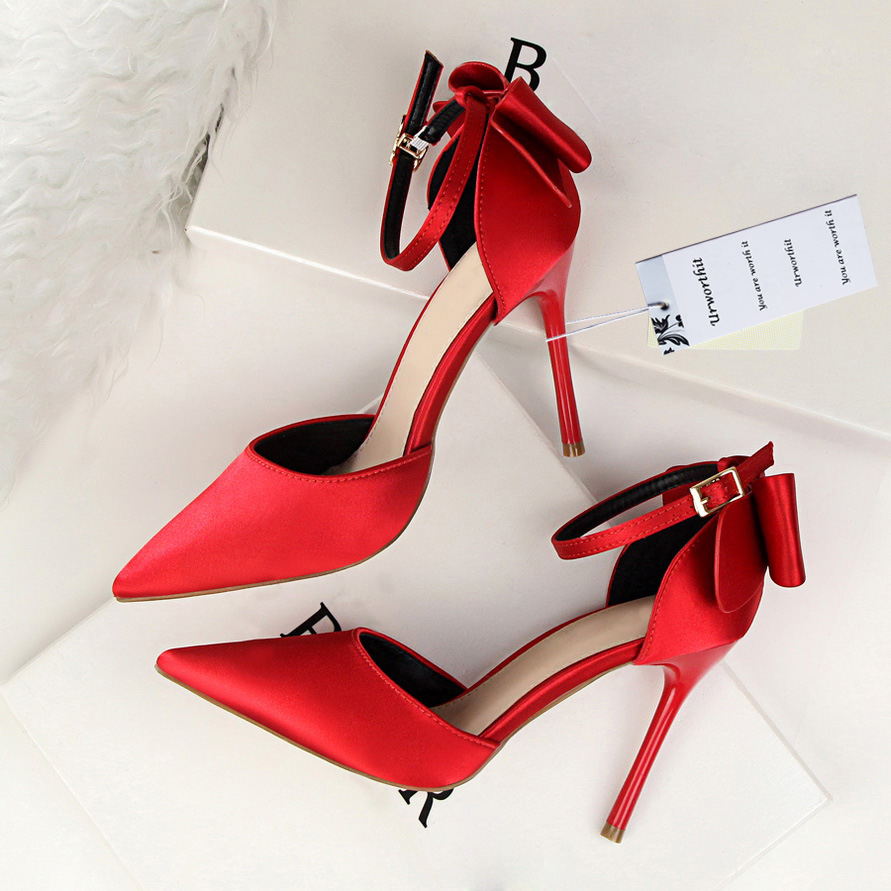 2018 Plus Size 43 Woman 10cm High Heels Sandals Stiletto Silk Fuschia Pumps Ankle Strap Heels Satin Sexy Burgundy Pink Red Shoes cocoafoal woman green high heels shoes plus size 33 43 sexy stiletto red wedding shoes genuine leather pointed toe pumps 2018