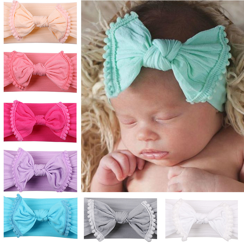 Newborn Nylon Baby girl headbands Soft Cotton Girls Headwrap fits all baby head wraps Infant Top knot headbands Bebes Hair bows hair elastic bands ribbon bows kids head wraps accessory headbands satin flower hairband headwrap