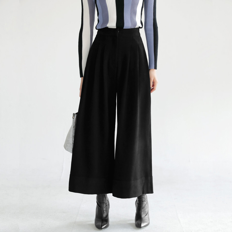 Pantalon d'hiver femme longueur cheville en laine pantalon ample plissé pantalon large jambe pantalon S-XL