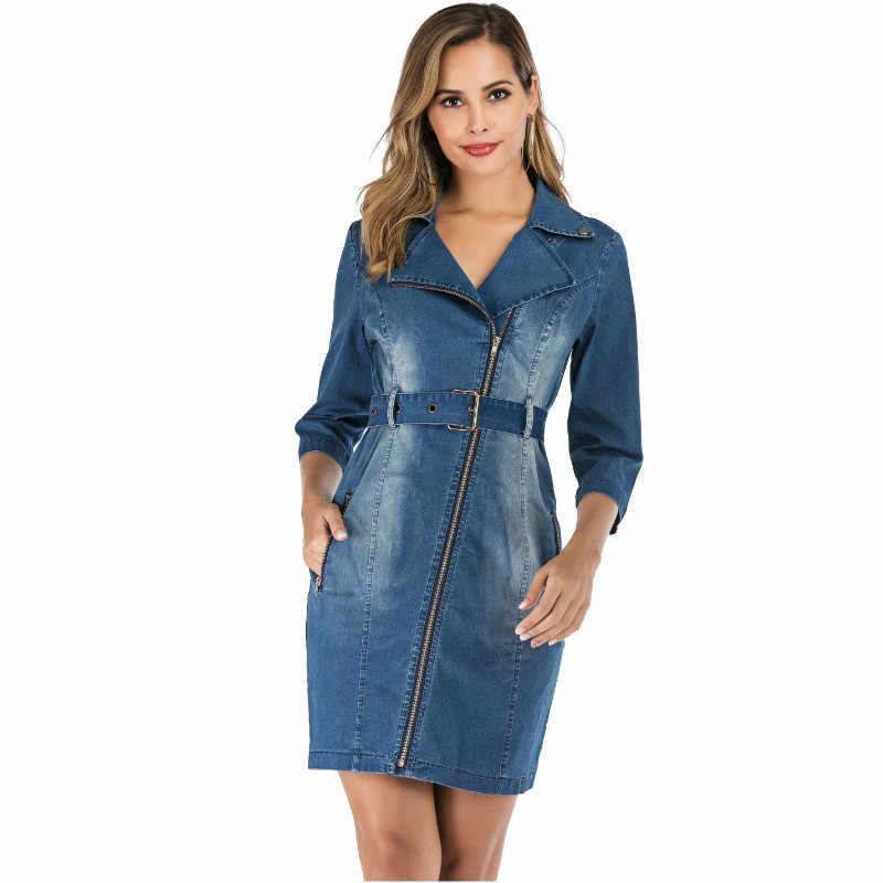 джинсовое платье весна осень 2019 женские платья больших размеров одежда обтягивающее платье бандалетки для бедер модное платье с поясом платье для офиса 19301