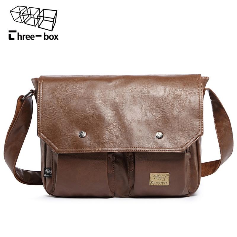 Three Box Famous Brand Casual Men Crossbody Bags For Men Business Handbag Vintag Leather Shoulder Messenger Bag Male Travel bags стоимость