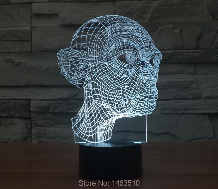 New Colorful USB Gollum 3D Table Lamp Luminaria LED Night Lights ...