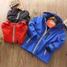 2019 Autumn Winter Kids Boys Outdoor Waterproof Jacket Fleece Coat Hood Windbreaker Sport Windproof Jackets Outwear Kids Clothes