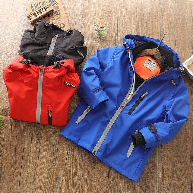 2019 סתיו חורף ילדים בנים חיצוני עמיד למים מעיל צמר מעיל הוד מעיל רוח ספורט Windproof מעילים להאריך ימים יותר ילדי בגדים