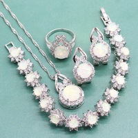 Silver 925 Wedding Jewlery Sets for Women White Fire Opals Engagement Earrings Sets Ring Bracelet Necklace Free Jewelry Box