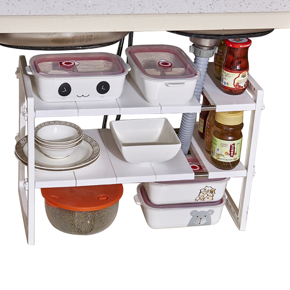 Multi Functional Under Sink 2 Tier Expandable Shelf Storage 