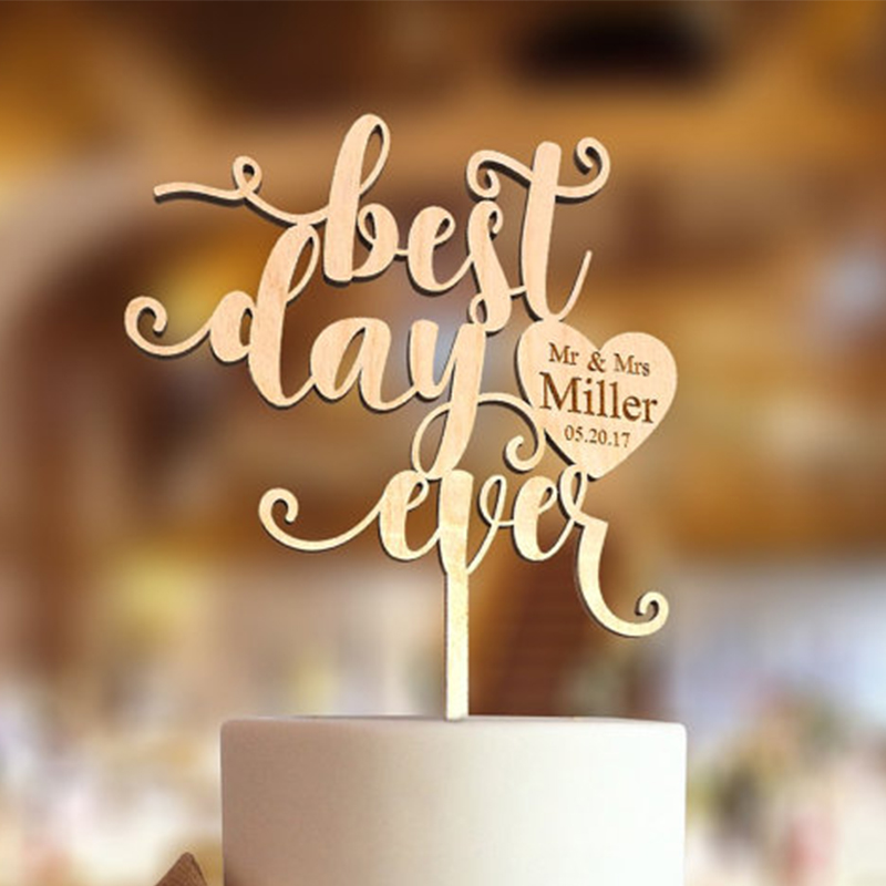 Best Day Ever Cake Topper Personalized Name and Date Wedding cake topper Wedding gift idea image