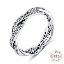 3298590f17f Nova Moda Jóias Fit original Endeli Europeia 925 sterling silver cristal de Swarovski  anéis de Cruz simples