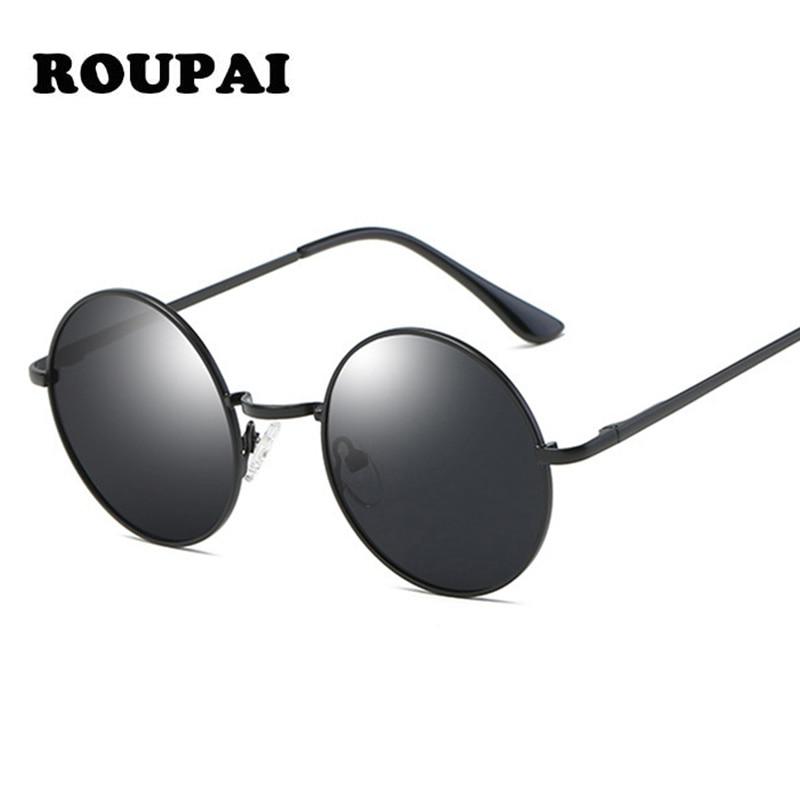 ROUPAI 2018 New Summer Round Small Sunglasses Women Male Polarized Classic Brand Designer Metal Frame Vintage Retro Sun Glases