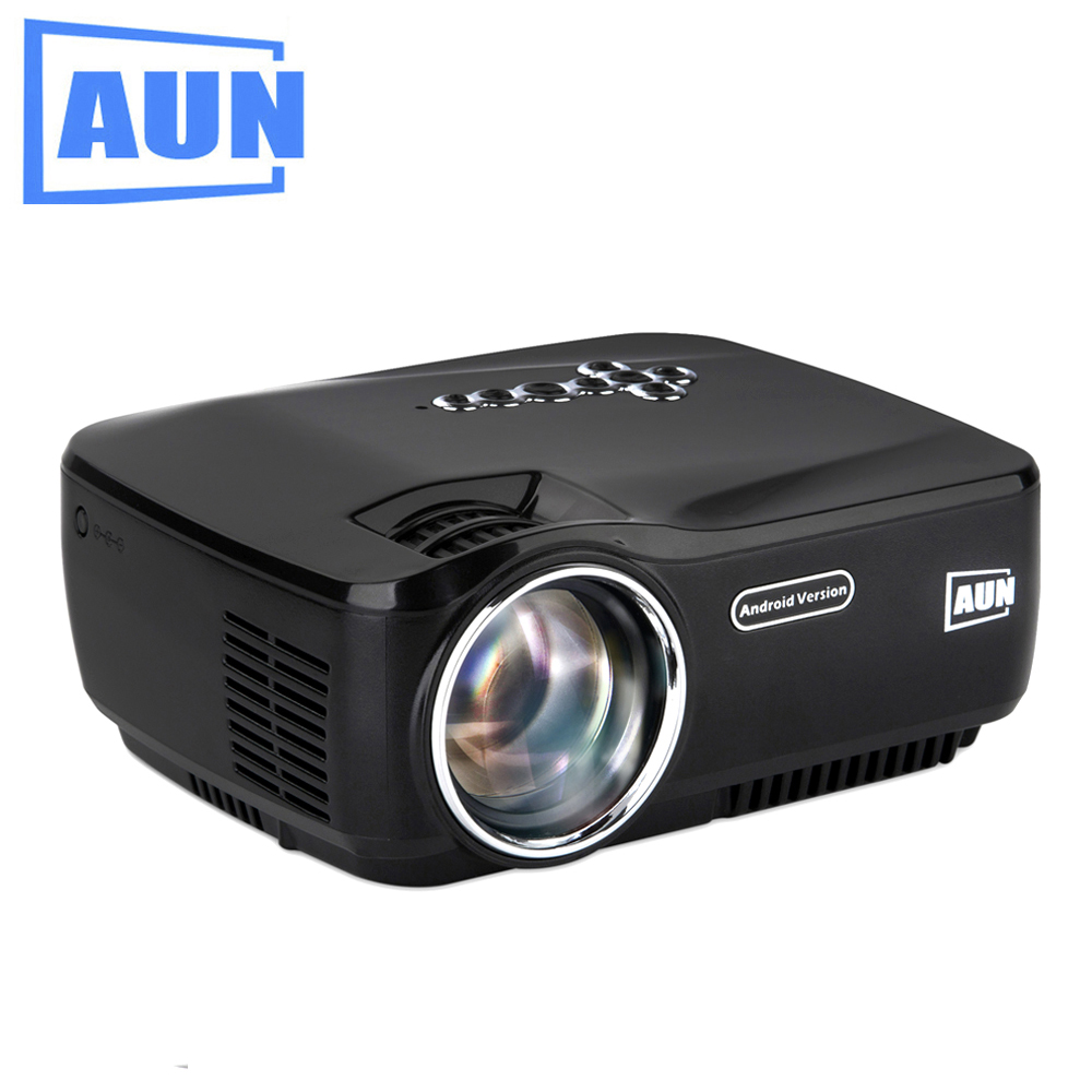 AUN Android Projector Built-in WIFI Bluetooth 4.4.2 LED Projector Support KODI Play AC3 for Home Theatre Free HDMI Cable AM01P original launch m diag for ios android built in bluetooth obdii mdiag can support launch golo mdiag better than idiag easydiag
