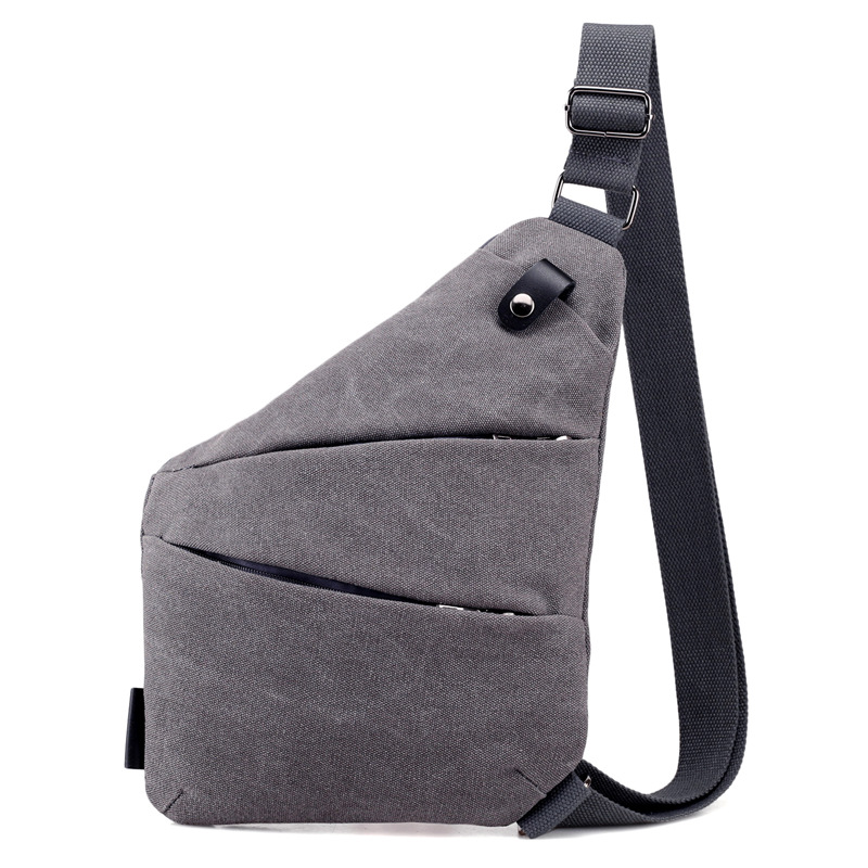 Design Feeling Canvas Satchel Chest Bag Multifunction Gun Sling Bag Male Anti-Theft Shoulder Crossbody Bags
