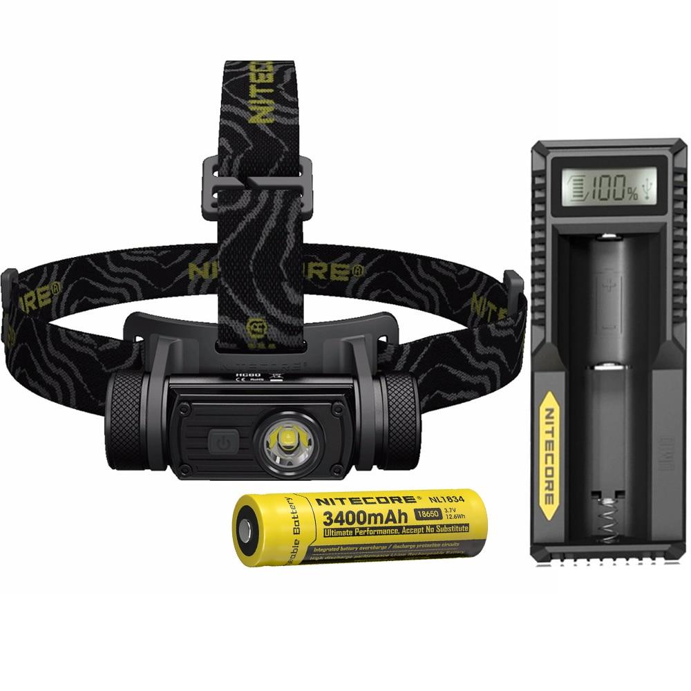 NITECORE HC60 USB 充電式ヘッドライト CREE XM L2 U2 最大 1000 ルーメンビームスロー 117 メートル 18650 3400mAh バッテリー  グループ上の ライト & 照明 からの ヘッドランプ の中 1