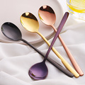 7 цветов  ложки из нержавеющей стали с ложка с длинной ручкой  розовое золото  ложка для супа  для мороженого  обеденные ложки  посуда для риса...
