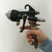 SAT1205 automatic paint spray gun double nozzle sprayer painting airbrush kit pressure feed dual nozzle spray gun air compressor