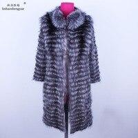 Linhaoshengyue длиной в 1 м Настоящее Silver fox red fox пальто с мехом