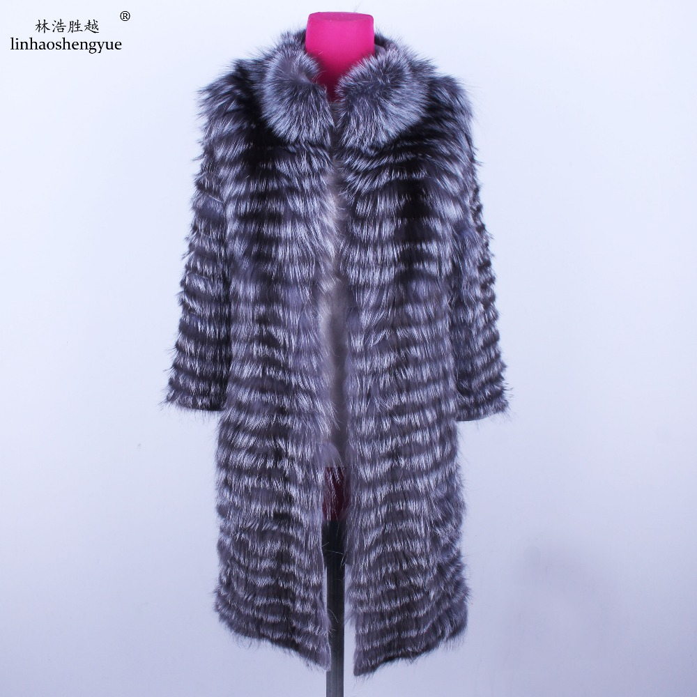 Linhaoshengyue  90cm Long Real Silver Fox Red  Fox Nature Fur Coat   Wool  Knit Liner,stylish Stand Collar