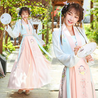 Chinese Traditional Dance Costume Women Hanfu Folk Stage Wear Singers Outfits Oriental Performance Clothing 3 Pcs Suit DC1804