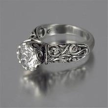 Mostyle цветок ювелирные изделия серебряного цвета Панк Винтаж Белый кубический цирконий полые цветочные кольца для женщин