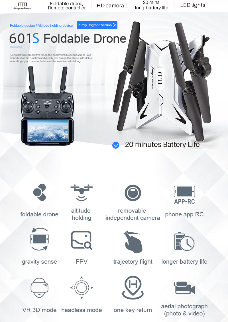 New RC Helicopter KY601S Drone with Camera HD 1080P WIFI FPV RC Drone Professional Foldable Quadcopter  Minutes Battery Life 3