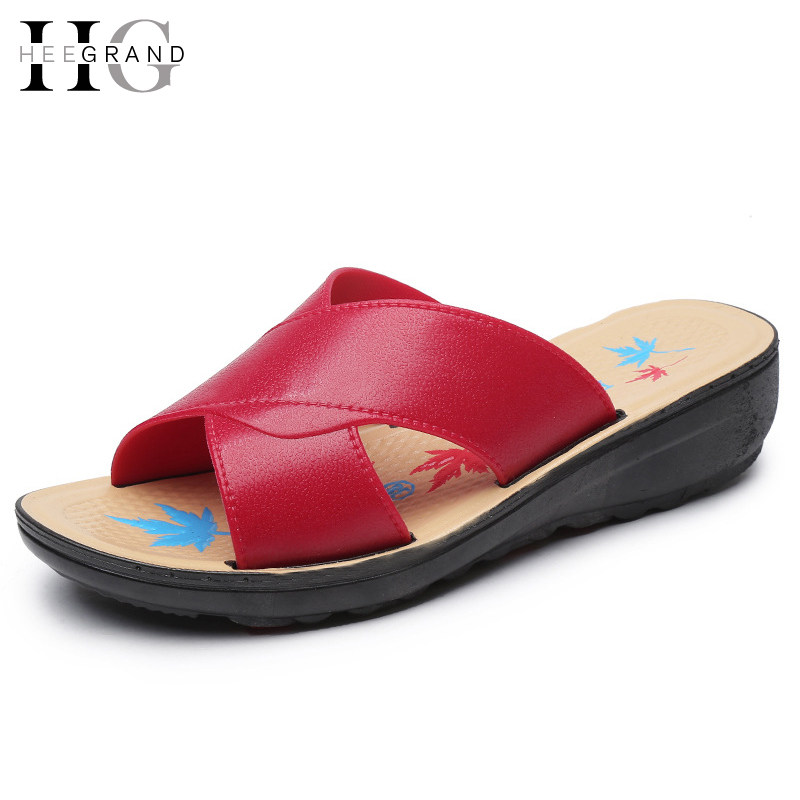 HEE GRAND Summer Slippers 2017 New Slip On Platform Mother Shoes Woman Leisure Wedges PU Leather Comfort Women Shoes XWD5839 hee grand 2017 gladiator sandals summer platform shoes woman slip on creepers rhinestones casual wedges women shoes xwz3547