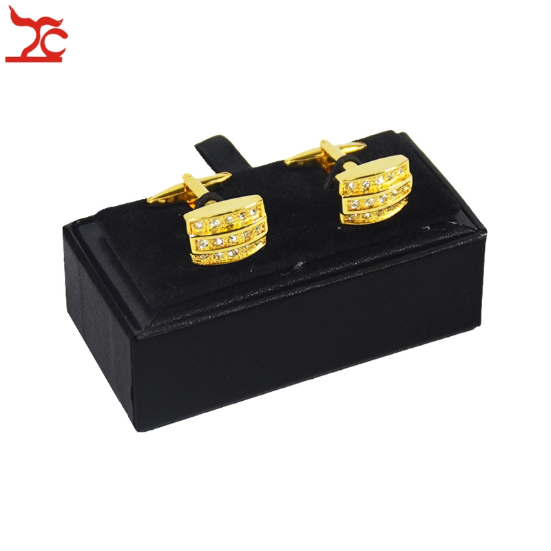 Hot Sale Cufflinks Box 40Pcs Black Leather Gemelos Cufflink Storage Boxes Cuff links Display Packaging Organizer Case 8*4*3cm-in Jewelry Packaging & Display from Jewelry & Accessories    3
