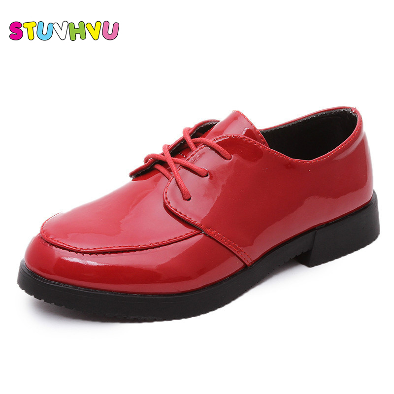Spring summer new patent leather children school shoes boys girls fashion black red color bean shoes casual shoes handsome