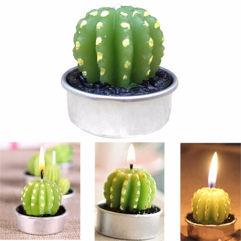 Faithful Simulation Cactus Spherical/tree Shape Ornaments Home Furnishing Scented Romantic Candle Tea Table Light Garden Decor Products Hot Sale Candles & Holders