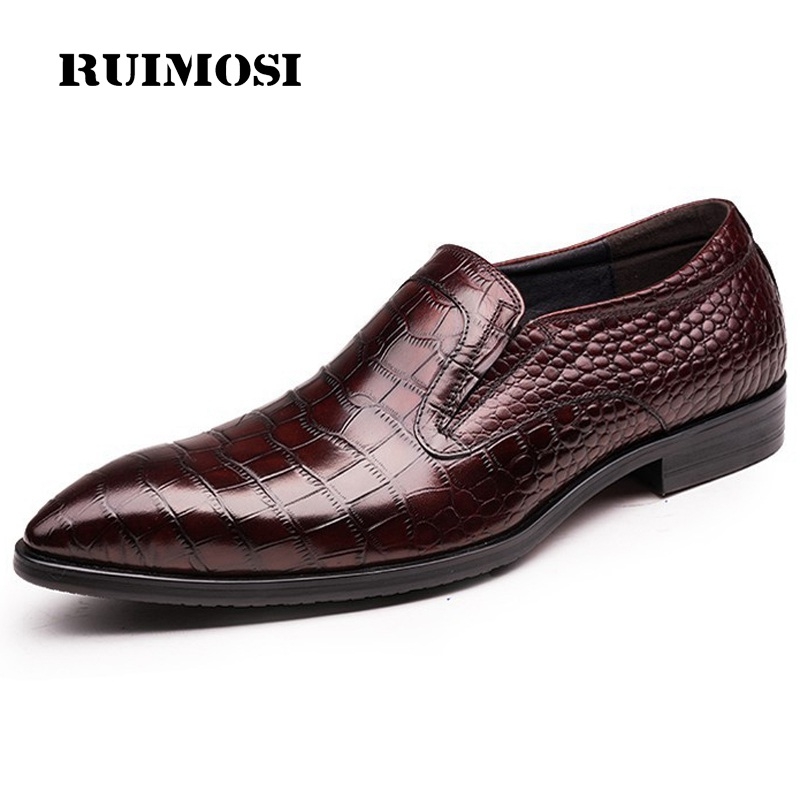 RUIMOSI Round Toe Crocodile Man Casual Shoes Genuine Leather Male Bridal Loafers Luxury Brand Designer Men's Wedding Flats QC96