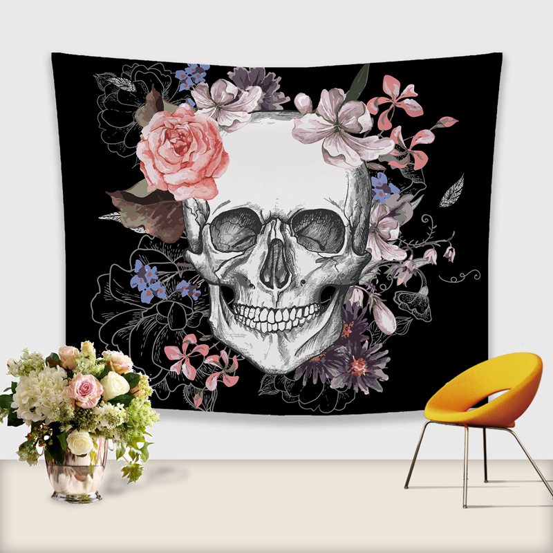Image 2 - 3D Skull Tapestry Polyester Wall Hanging Gobelin Painting Pattern Beach Picnic Yoga Rug Mat Home Decor Crafts-in Tapestry from Home & Garden