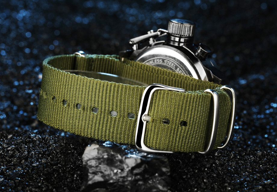 Golden Hour Fashion Army Men Military Digital Watch Canvas Strap