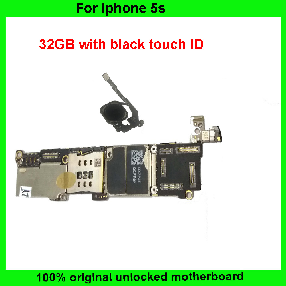 Цена за Для iphone 5S Материнская Плата С Touch ID Разблокирована 32 ГБ Оригинал Материнская Плата С Черный Отпечатков Пальцев Логическая Плата Установлена IOS Системы