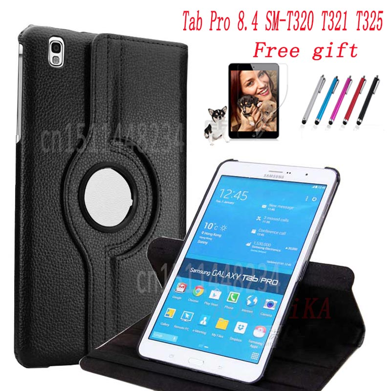 Screen film+stylus+360 Degree Rotating PU Leather Cover For Samsung Galaxy Tab Pro 8.4 SM-T320 T321 T325 Tablet shockproof CaseScreen film+stylus+360 Degree Rotating PU Leather Cover For Samsung Galaxy Tab Pro 8.4 SM-T320 T321 T325 Tablet shockproof Case