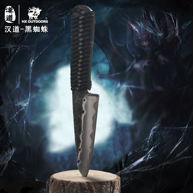 HX OUTDOORS Black Spider Forged Hand Knife ,Leather +steel Handle, Survival Tactical Knife, Hunting Knives With Leather Sheath