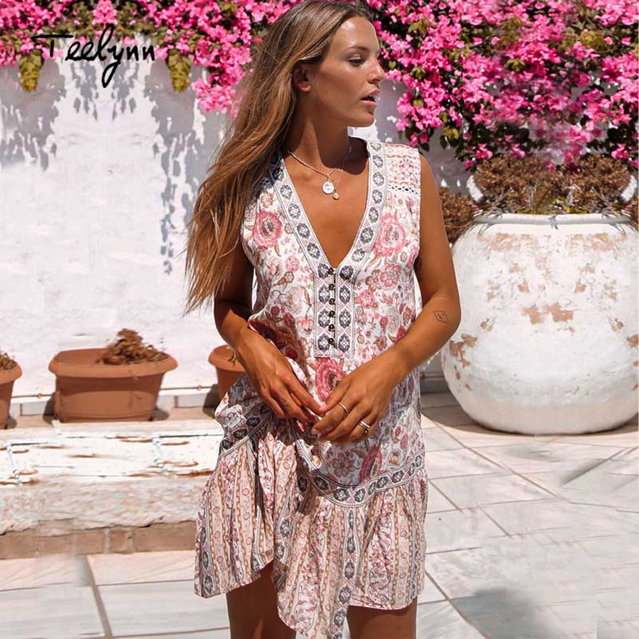4c841ca3b2ee TEELYNN mini 2018 boho dresses sexy v neck floral print summer dress hippie  women dresse rayon sleeveless short dress vestidos -in Dresses from Women s  ...