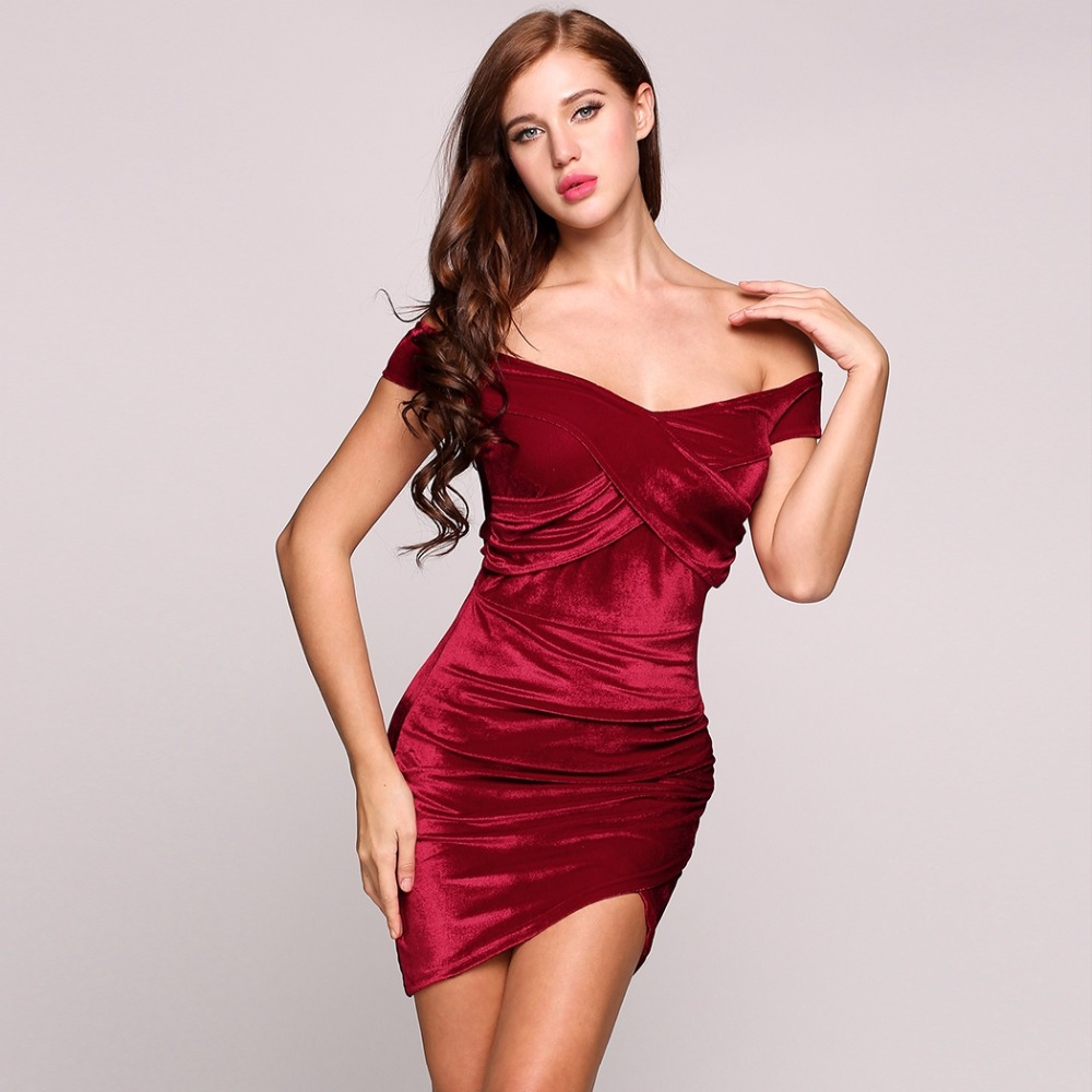 3cc2baf962 Women Sexy Red Velvet Dress Off Shoulder Bodycon Irregular Mini Dress  Sheath Sexy Club Dress
