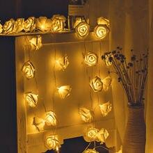 Guirlande lumineuse de roses de 2M 20LED LED à piles LED, guirlande décorative pour fête de mariage ou noël