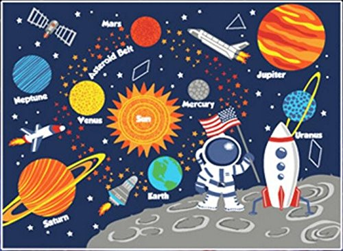 Kids Rug Educational Learning Carpet Galaxy Planets Stars Blue 3 X 4 5 Children S Fun Area Nursery Rugs Solar System Rec In From Home