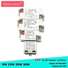 Transformatory LED 12V AC110V 220V do DC12V adapter do zasilacza do 6W 15W 30W 36W 60W taśmy LED żarówki do użytku domowego