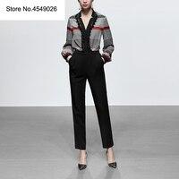 2019 Бизнес Для женщин карандаш брюки костюмы 2 шт наборы кружева лоскутное Кисточкой Блузка + брюки Офисные женские туфли женский наряд H6616
