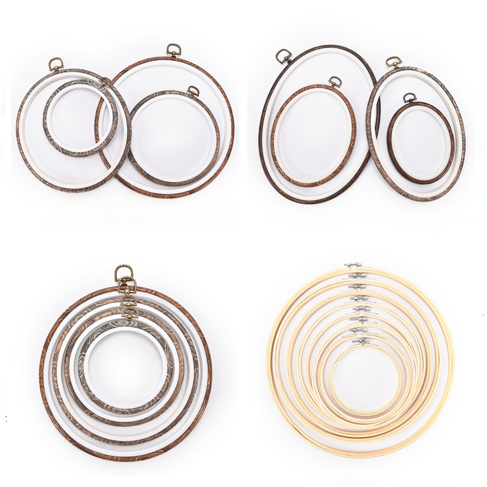 12-34cm round /oval Wooden Plastic Frame Embroidery Hoop Ring Circle Loop For Cross Stitch Hand DIY Needlecraft Sewing Tools