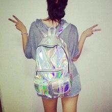 Mochila Masculina Backpack Women Silver Hologram Laser Backpack Men's Bag Leather Holographic Backpack Multicolor